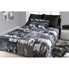 Prehoz na posteľ s motívom mesta New York čiernej farby