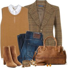 A fashion look from September 2015 featuring sweaters, Ralph Lauren Blue Label blazers and L'Autre Chose ankle booties. Browse and shop related looks. Cute Fashion, Look Fashion, Fashion Outfits, Womens Fashion, Mode Style Anglais, Fall Winter Outfits, Autumn Winter Fashion, Boutique Fashion, Country Fashion