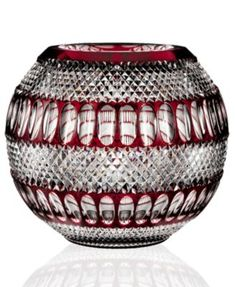 """House of Waterford, Colleen 12"""" Large Ruby Rose Bowl"""