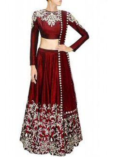 New Maroon Raw Silk Lehenga Choli Set,Buy Party Ware Sarees Online Shopping India from Indian Wedding Styles. Raw Silk Lehenga, Red Lehenga, Anarkali, Bollywood Lehenga, Pakistani Lehenga, Chiffon Saree, Indian Attire, Indian Wear, Indian Dresses