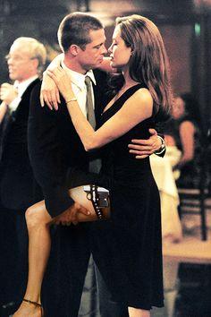 Brad Pitt and Angelina Jolie in 'Mr. Smith' Brad Pitt and Angelina Jolie in 'Mr. Smith' – Real-Life Couples Who Fell in Love On-Camera – Photos