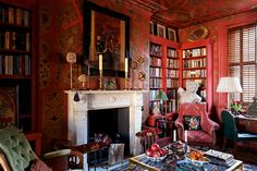 Top 100 Architects and Designers by Architectural Digest Architectural Digest, Interior Design Gallery, Library Room, Home Libraries, Red Rooms, My Living Room, Interiores Design, Interior Architecture, Living Room Designs