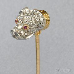 Edwardian Diamond and Ruby Bulldog Stickpin, Tiffany & Co. Victorian Jewelry, Vintage Jewelry, Hat Hairstyles, Stick Pins, Hat Pins, Animal Jewelry, Belly Button Rings, Tiffany, Diamond Cuts