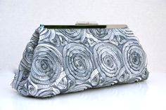 Silver Rosette Clutch for bridal party wedding by JennyGirlDesigns