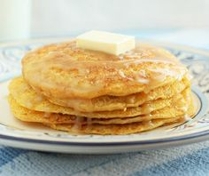 Cornbread pancakes with honey butter syrup by Cooking Classy.