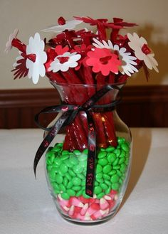 Twizzler Flowers--I've made these before. Huge hit. Left out the candy corn and ribbon.