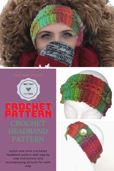 Enjoy crocheting the beautiful headband / earwarmer with supersoft and vibrant colours yarn. This winter headband is very chic and stylish and will do a great job keeping your ears and head warm in the cold winter days. Crochet Headband Pattern, Crochet Hats, Knitting Patterns, Crochet Patterns, Vibrant Colors, Colours, Winter Headbands, Winter Outfits For Work, Winter Day