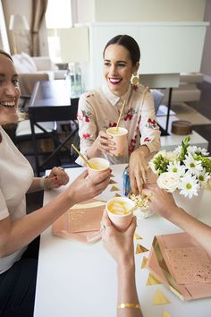 Entertaining Tips by Louise Roe | Throw a Blush & Gold themed lunch with your girlfriends! I served Palm Breeze spritzer and snacks, and decorated with girly accents and flowers.