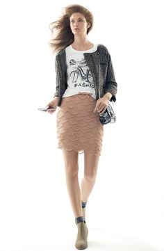 Sanctuary Tweed Jacket, Bicycle Screen Tee, & 'Claudia' Scalloped Skirt #Nordstrom #AugustCatalog