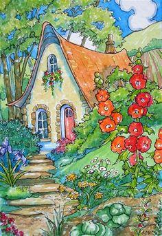 """Garden Living Storybook Cottage Series"" - Original Fine Art for Sale - © Alida Akers"