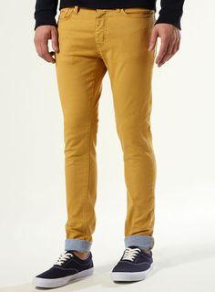 Mustard Contrast Turnup Stretch Skinny Jeans
