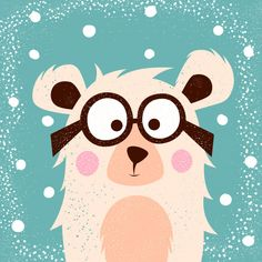Funny, cute bear with glasses for print t-shirt. Baby Clip Art, Baby Art, Decoration Creche, Baby Posters, Animal Sketches, Animal Illustrations, Dibujos Cute, Christmas Drawing, Cute Bears