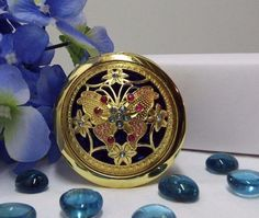 "$9.99   Multi-Color Crystal Mirror Compact Butterfly Design One Side Magnifying 2 3/4"" Beautiful!!"