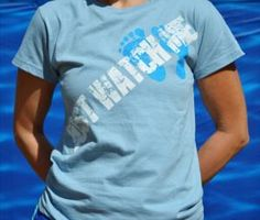 """Ladies' River Blue 100% organic cotton """"Just Watch Me"""" t-shirt with our signature footprints in contrasting blue! At www.BarefootAC.com."""