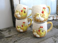 Vintage Farmhouse Chicks Coffee Mugs - Rustic Country Kitchen - Set of 4