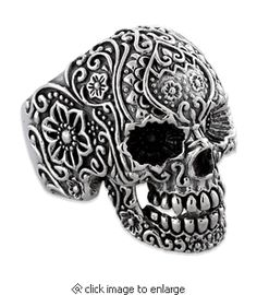 This skull ring is made of Sterling Silver, hand crafted with the Finest Detail giving it a very Masculine and Dark look. Add this manly piece to your collection and see just what kind of attention you will get! But, I'd want it for ME! Isn't it available in a ladies size?