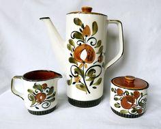 1970s Coffee set, coffee pot, sugar bowl and creamer by Boch, Belgium…