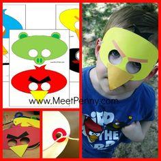 angry birds theme birthday printable masks