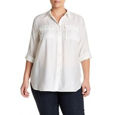 Two by Vince Camuto Flowy Rumple Blouse (Plus Size) ($40) ❤ liked on Polyvore featuring plus size women's fashion, plus size clothing, plus size tops, plus size blouses, new ivory, plus size, womens plus tops, plus size long sleeve tops and plus size long sleeve blouse