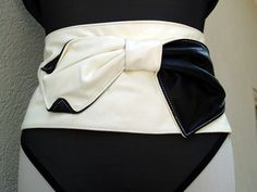 Black and White Tuxedo Cinched Waist Belt
