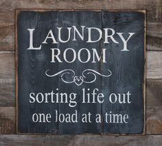 Large Wood Sign - Laundry Room - Subway Sign via Etsy