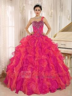 debf55f8635 Luxurious Red One Shoulder Beaded Ruffles Beautiful Quinceanera Dress In  Spring Or Winter Sweet 16 Dresses