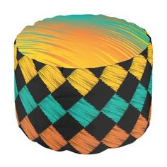 Colorful #Abstract #Scribble Diamonds Pattern #Poufs #zazzlebesties #zazzle #trendy #shopping #gifts