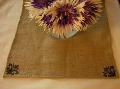 Burlap Table Runner with Black Fleur Corners by CasualEleganceHome, $18.00