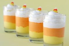 Candy Corn Cheese cakes for Holloween - Cute!
