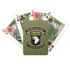 101st Airborne Screaming Eagle Patch Playing Cards - Parachuting Gift Idea
