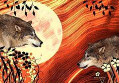 Rival Wolves Native American Folk Art 8 x 10 by GrayWolfGallery, $25.00