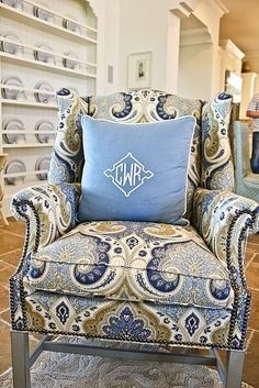 blue paisley chair - cant wait for Susan to reupholster all my furniture :) Upholstered Furniture, Home Furniture, Poltrona Bergere, Monogram Pillows, Blue Rooms, Sofa Chair, Wing Chair, Take A Seat, Slipcovers