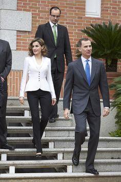 King Felipe and Queen Letizia Attend A Meeting For Miguel de Cervantes IV Centenary
