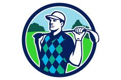 Golfer Golf Club Shoulders Circle Retro Illustration of golfer wearing argyle vest and hat holding golf club on shoulder looking to the side with trees in the background set inside circle done in retro style. #illustration #GolferGolfClub