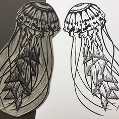 My jellyfish linocut and print, also available in grey from my Etsy shop (link in bio) by Claire McKay #linocut #linoprint #etsy #etsyshop #etsyseller #jellyfish #printforsale #handmade