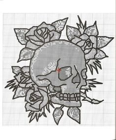 Image result for ed hardy skull and roses cross stitch