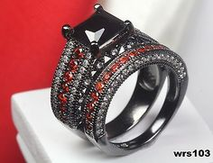 Rings 67681: Snow White Black Garnet Sterling Silver Womens Engagement Ring Wedding Ring Set BUY IT NOW ONLY: $49.36