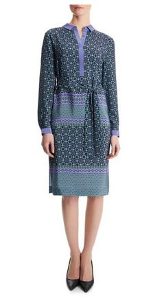 Jaeger Silk Tile Print Shirt Dress