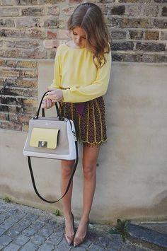 making yellow look good! I actually like the purse too  with the outfit:)