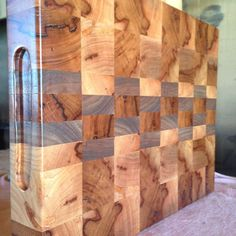 """End grain cutting board 2"""" thick handmade from mesquite and black walnut! #woodwork #woodworking #handcrafted #wood #handmade #custom #cuttingboard #butcherblock de thomas_handcrafted_woodworks"""