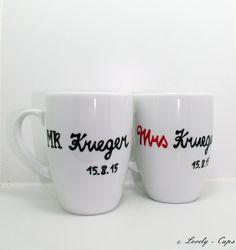 Hochzeitsgeschenk MR & MRS Hochzeitsgeschenk Tasse von Lovely-Cups   auf DaWanda.com