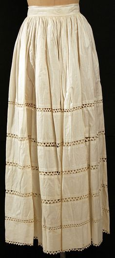 Cotton with ric-rac insertions, American or European, 1850's. The Met, accession nr. 1996.503.1