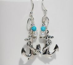 Silver Anchor Earrings Anchor Jewelry Nautical by ornatetreasures - $18.90