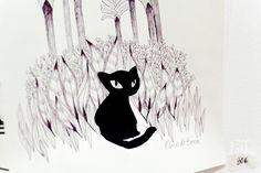 Black cat by Bleu Noir tattoo