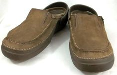 Crocs Shoes Mens Size 13 M Beige Leather Slip On Casual Loafers #Crocs #LoafersSlipOns