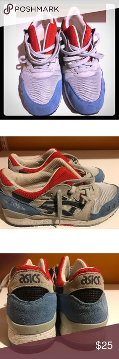 ASICS men's sneakers size 9.5 US Great colorful sneaker. Size 9.5 Men. The sneaker is in great shape. The original insole was removed to add in custom insoles. Grab some Dr. Scholl's to put in before wearing and these will fit super comfy! Offers accepted. Asics Shoes Sneakers