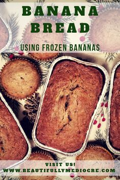 Banana Bread With Frozen Bananas - Beautifully Mediocre bread cake healthy muffins pudding recipes chocolat plantain recette recette Frozen Banana Bread Recipe, Make Banana Bread, Banana Bread Recipes, Frozen Banana Dessert, Frozen Banana Smoothie, Banana Bread Brownies, Homemade Banana Bread, Blueberry Bread, Frozen Chocolate