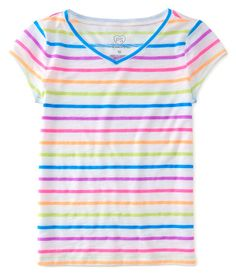 """Your wardrobe won't be complete until you add our Striped V-Neck Tee! Its soft, lightweight fabric promises extreme comfort, while the bright allover stripes are easy to match with everything from sweats to shorts.<br><br>Tag free label.<br>Relaxed fit. Approx. length (10): 21""""<br>Style: 2996. Imported.<br><br>60% cotton, 40% polyester.<br>Machine wash/dry."""