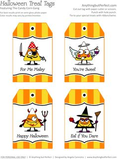 Treat Tags from the The Candy Corn Gang - Free Printables