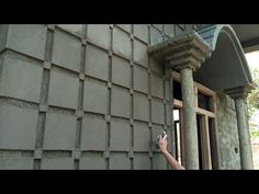 Front of house design House Front Wall Design, Exterior Wall Design, Village House Design, Bungalow House Design, Gate Design, Compound Wall Design, Cement Design, Building Front, Bedroom Wall Designs